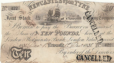 Banknote 1838 Newcastle on Tyne Joint Stock Banking Co 10 pound showing ship 422