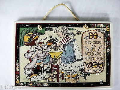 Mary Engelbreit Tile Plaque Do Unto Others 6 x 9 With Leather Hanger