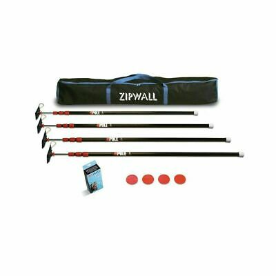 ZipWall ZP4 ZipPole 4 Pack 10 Foot Light Weight Spring Loaded Poles for Plastic