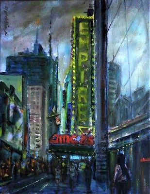 Empire Theater, New York 11x14 in. Original Oil canvas Painting Hall Groat Sr.