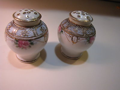 Rare Antique Nippon Salt & Pepper Shakers Moriage  Roses  Hand Painted Unmarke