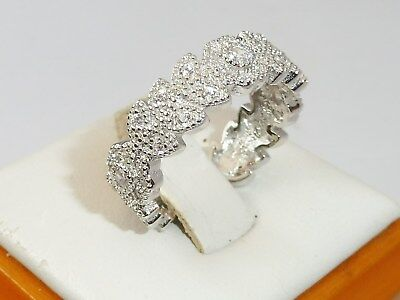 Ladies Victorian Design Sterling 925 Silver White Sapphire Full Eternity Ring
