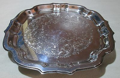 """Wm Rogers Silverplate Oneida 4 footed square scalloped tray 11 1/2"""" Ornate"""
