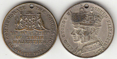 1937 medal Australia Coronation of KGV1 silvered brass in very fine condition