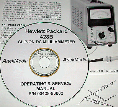 HP Hewlett Packard 428B Clip-On DC Milliamp Meter, Operating & Service Manual