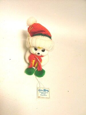 Collectible Porcelain Bell Snowman Holding Gift Made By Giftco Knitted Hat