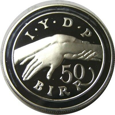 elf Ethiopia PDR 50 Birr EE1974 AD 1982 Silver Proof  Hands Year of Disabled