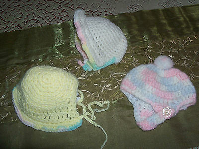 Three Vintage Crochet/ Handmade Doll Hats White w/ Blues - Yellow - Green & Pink