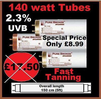 BRAND NEW PURE BRONZE 140 WATT 5ft FAST TANNING 2,3% UVB SUNBEDS LAMPS TUBES