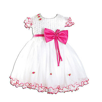 New Party Flower Girl Christening Dresses Ivory Pink Hot Pink 3 6 9 12 18 Months