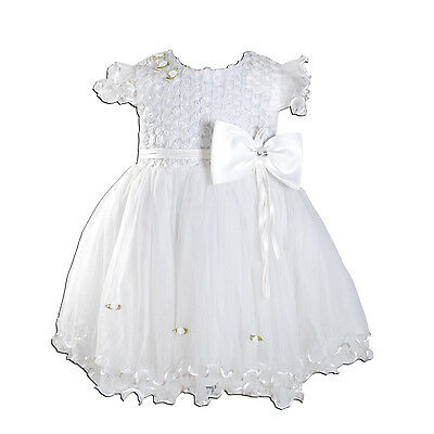 New Baby Girls Ivory Off White Party Christening Dress 9-12 Months