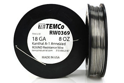 TEMCo Kanthal A1 wire 18 Gauge 8 oz (126 ft) Resistance AWG A-1 ga