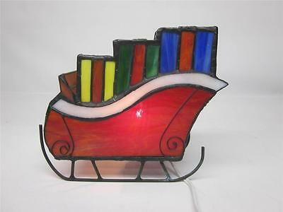 STAINED GLASS LIGHTED SLED W/ GIFTS~TIFFANY STYLE GLASS~UNIQUE~RARE UNIQUE