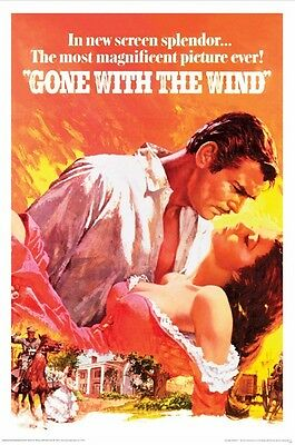 GONE WITH THE WIND ~ ART 24x36 MOVIE POSTER Clark Gable Vivien Leigh Fleming
