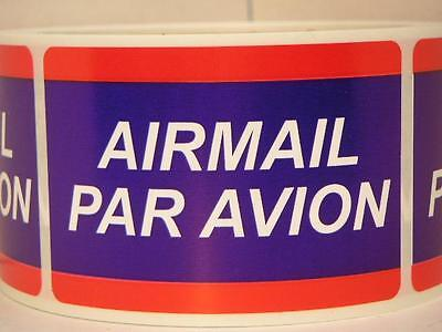 AIRMAIL PAR AVION  2x3 Stickers Labels Mailing Shipping 250/rl