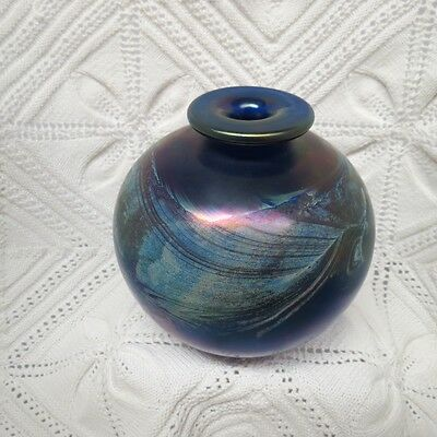 Bob Biniarz Signed Modern Studio Crafted Art Glass Bulbous Vase