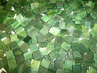 """100 1/2"""" Army Green Tumbled Stained Glass Mosaic Tiles"""
