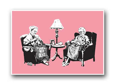 BANKSY- Grannies Knitting-QUALITY CANVAS Print Graffiti Street Poster 12x8""