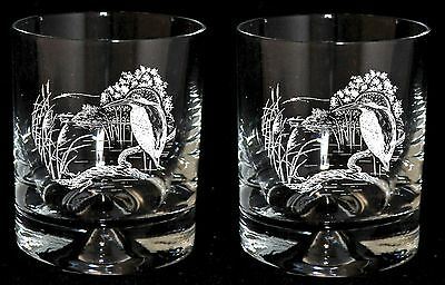 KINGFISHER GIFT* Boxed Pair of GLASS WHISKY TUMBLERS with KINGFISHER design