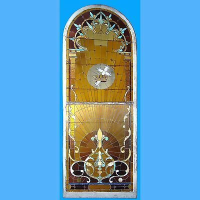 Beautiful Antique 4 1/2' x 12' Stained Glass Window w/Cross & Crown Top Section