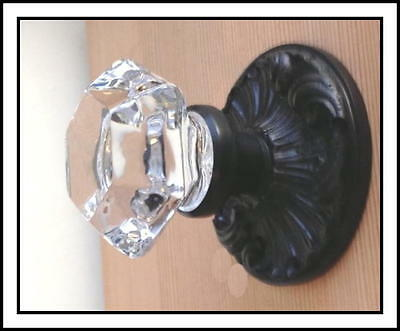 CUSTOM MADE CRYSTAL & Oil Rubbed Rubbed Estate DOOR Knobs Set to FIT ANY DOOR