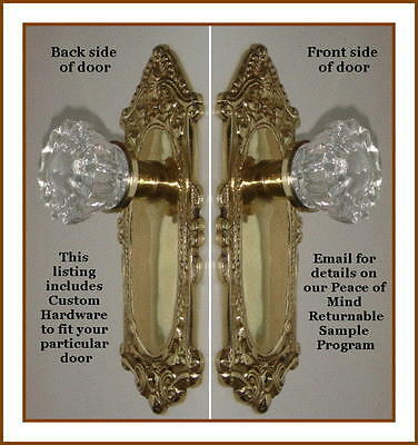 CUSTOM MADE CRYSTAL & NATURAL BRASS Estate Style DOOR Knobs Set to FIT ANY DOOR