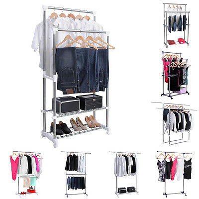 Songmics Adjustable Garment Rack Coat Hanging Rail Clothes Stand with Wheels