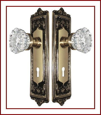 MADE TO ORDER CRYSTAL & ANTIQUE BRASS Egg & Dart Estate DOOR SETS-FIT ANY DOOR