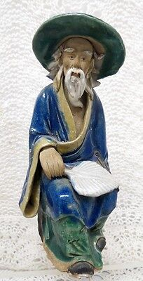 Chinese Mud Man Sitting With Leaf Fan Figurine Early 20Th Century
