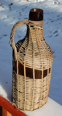 LARGE antique amber WICKER covered DEMIJOHN bottle with handle