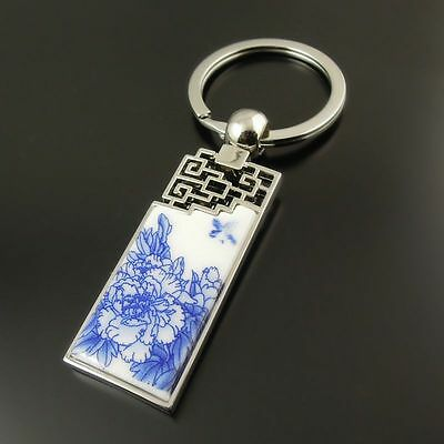 1X Chinese Style Peony Butterfly Blue&White Porcelain Keychain Keyrings Gift