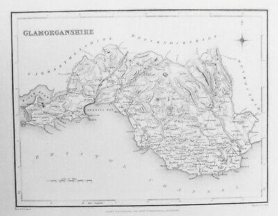 OLD ANTIQUE MAP GLAMORGANSHIRE WALES c1830's by CREIGHTON / WALKER ENGRAVING