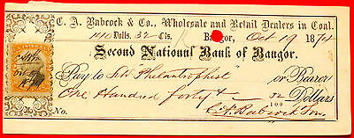 1874 Second National Bank of Bangor ME Cancelled Check