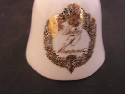 Vintage Japan Napcoware Golden 50th Anniversary Bell White Gold Color