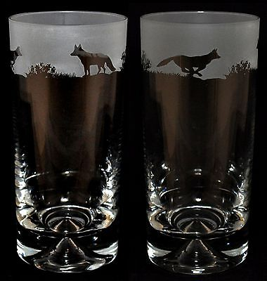 *FOX GIFT* Boxed PAIR HIGHBALL TUMBLER GLASS with FOX FRIEZE design