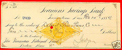 1884 Seamens Savings Bank Provincetown MA Cancelled Check Printed Revenue Stamp