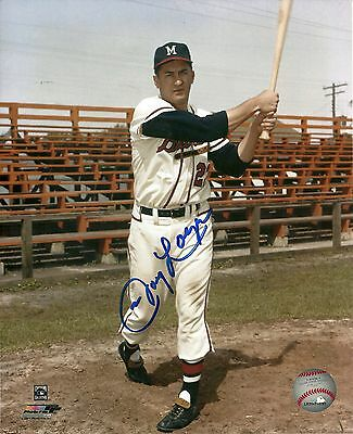 JOHNNY LOGAN MILWAUKEE BRAVES SIGNED AUTOGRAPHED 8x10 W/COA