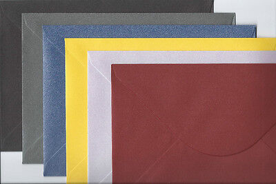 "50  C5 SHIMMER ENVELOPES  CHOICE OF 6 COLOURS  TOP QUALITY  162 x 229mm  6"" x 9"""