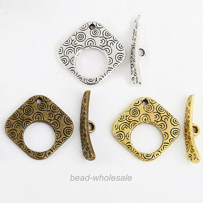 Lots 10 Sets Tibetan Antique Silver Square Shape Toggle Clasps Findings 20x20mm
