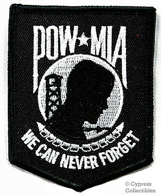 POW-MIA EMBROIDERED PATCH iron-on VIETNAM WAR - BLACK military prisoner emblem