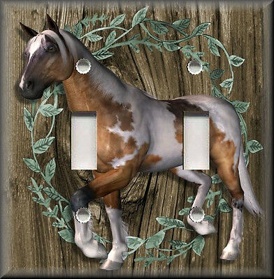 Metal Light Switch Plate Cover - Country Western Horse Decor Horse Decor Leaves