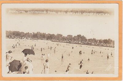 Real Photo Postcard RPPC - Municipal Swimming Pool Garden City KS by Conard 1922
