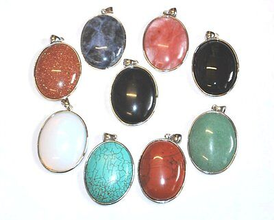 SEMI PRECIOUS CRYSTAL GEMSTONE GEM OVAL PENDANT WITH BAIL - 52x32mm - UK SELLER