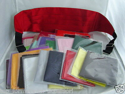 Manuel's Deal>Mens RED Only Cummerbund + 1 Hankie in any colour from 30 choices