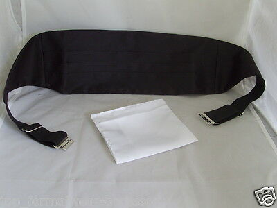TOP Quality TOP Sale >BLACK Polyester Cummerbund +White Hankie>P&P 2UK>1st Class