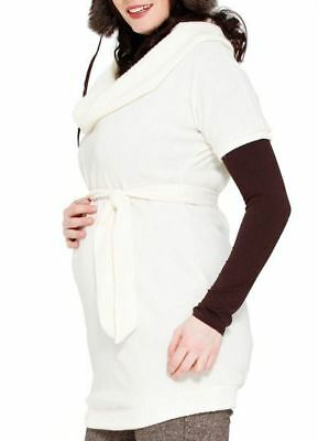 New JULES & JIM Maternity Winter White Knit Cowl Neck Short Sleeve Sweater