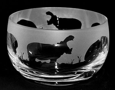 HIPPO GIFT ~ Boxed 12.5cm CRYSTAL GLASS SWEET BOWL with HIPPO Frieze