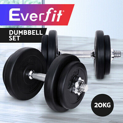 20KG Everfit Dumbbell Set Weight Dumbbells Plates Home Gym Fitness Exercise