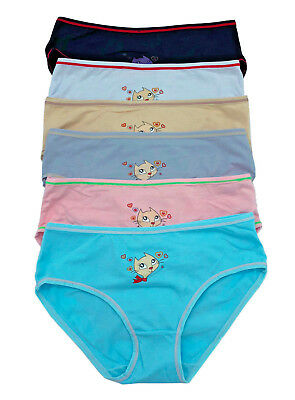 6be9c344d53 Gift LOT 6 12 Cute Lace Cat Lover Spandex Kids Girl COTTON Bikini Panty S-