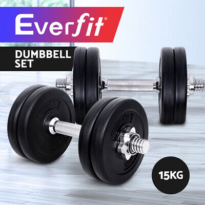 15KG Everfit Dumbbell Set Weight Dumbbells Plates Home Gym Fitness Exercise